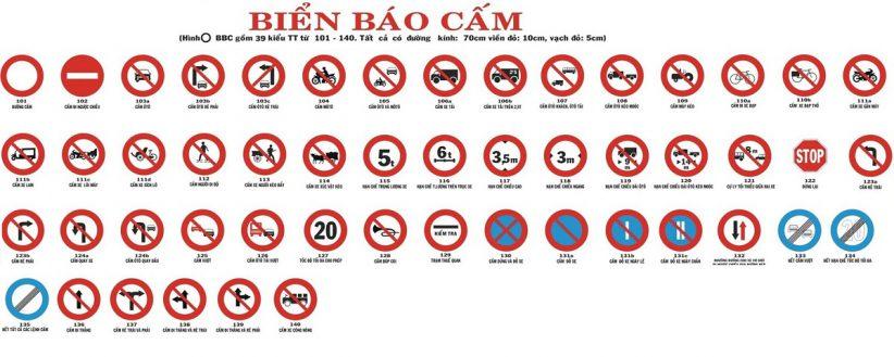 các biển báo giao thông đường bộ biển báo cấm